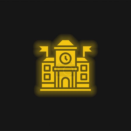 Illustration for Academy yellow glowing neon icon - Royalty Free Image