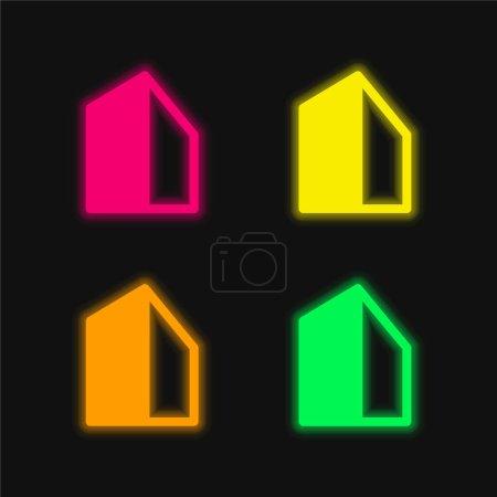 Photo pour Grand Bâtiment quatre couleurs brillant icône vectorielle néon - image libre de droit
