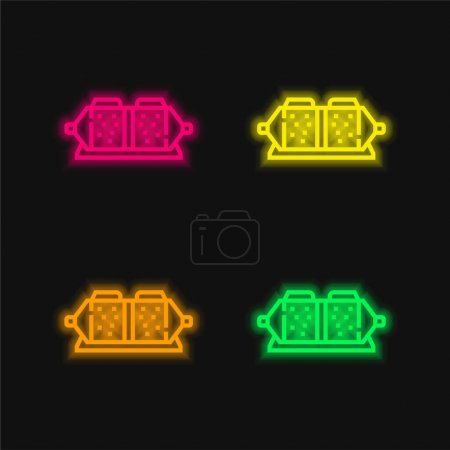 Brake Pad four color glowing neon vector icon
