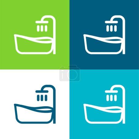Baignoire Plat quatre couleurs minimum icône ensemble