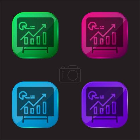 Photo pour Analytics icône de bouton en verre quatre couleurs - image libre de droit