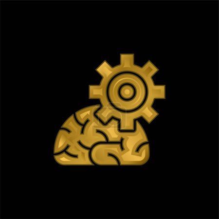 Illustration for Algorithm gold plated metalic icon or logo vector - Royalty Free Image