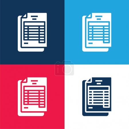 Bank Statement blue and red four color minimal icon set