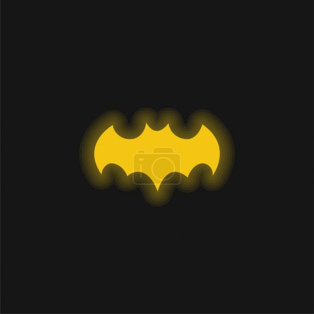 Bat Black Shape With Open Wings yellow glowing neon icon