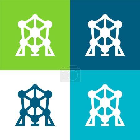 Atomium Flat vier Farben Minimalsymbolset