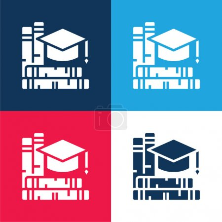 Illustration for Book blue and red four color minimal icon set - Royalty Free Image