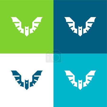 Photo pour Ensemble d'icônes minimal quatre couleurs Bat Flat - image libre de droit