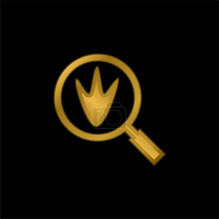 Bird Prints gold plated metalic icon or logo vector