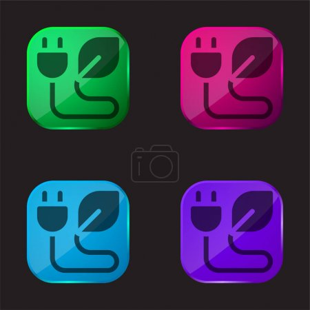Illustration for Bio Energy four color glass button icon - Royalty Free Image