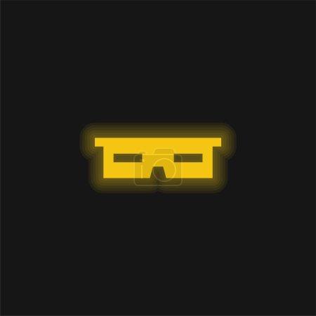 Illustration pour Lunettes 3d jaune brillant icône néon - image libre de droit