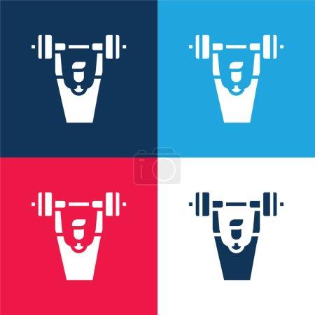 Illustration pour Barbell bleu et rouge quatre couleurs minimum jeu d'icônes - image libre de droit