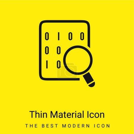Photo pour Codes binaires sur la feuille de données avec lentille grossissante icône matérielle jaune vif minimale - image libre de droit