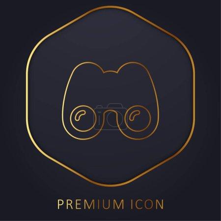 Binoculars golden line premium logo or icon