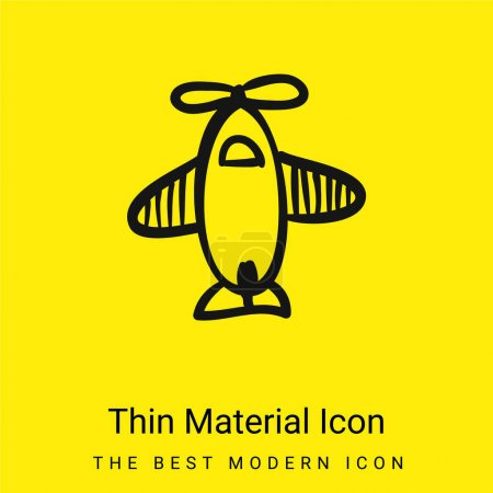 Airplane Hand Drawn Toy From Top View minimal bright yellow material icon