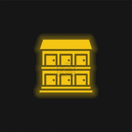 Illustration for Aparment yellow glowing neon icon - Royalty Free Image