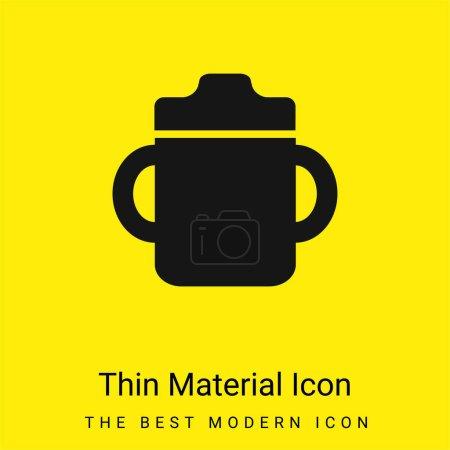 Photo pour Bouteille de boisson pour bébé avec poignée des deux côtés icône matérielle jaune vif minimale - image libre de droit