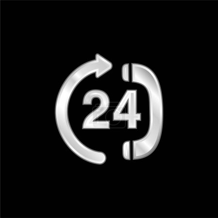 Illustration pour Icône métallique argentée du centre de service téléphonique 24 heures - image libre de droit
