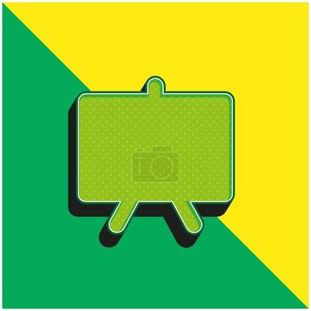 Illustration pour Tableau noir Logo vectoriel 3d moderne vert et jaune - image libre de droit