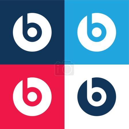 Illustration pour Beats Pill bleu et rouge ensemble d'icônes minimales de quatre couleurs - image libre de droit