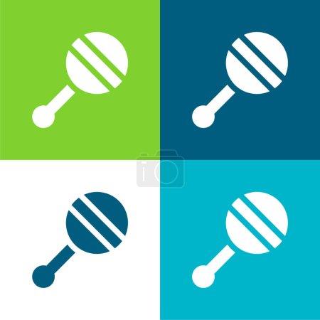 Hochet bébé Ensemble d'icônes minimal plat quatre couleurs
