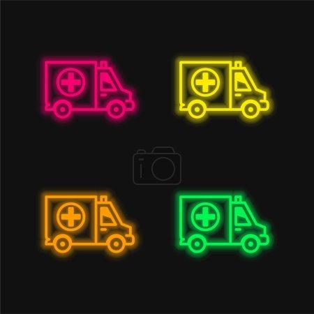 Illustration pour Big Ambulance quatre couleurs rougeoyantes icône vectorielle néon - image libre de droit