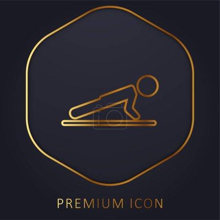Illustration pour Garçon faisant Pushups ligne d'or logo premium ou icône - image libre de droit