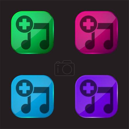 Añadir Símbolo de interfaz de canción icono de botón de cristal de cuatro colores