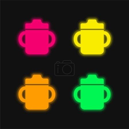 Photo pour Bouteille de boisson pour bébé avec poignée des deux côtés icône vectorielle au néon rayonnante de quatre couleurs - image libre de droit