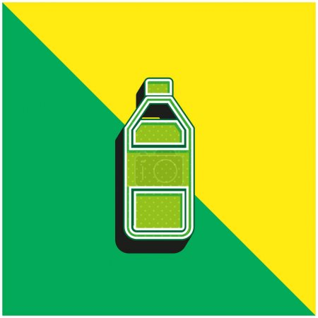 Bottle Of Water Green and yellow modern 3d vector icon logo