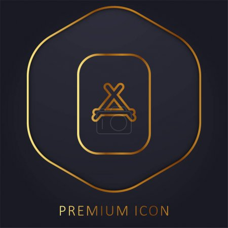 Apps Store golden line premium logo or icon