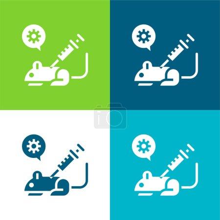 Illustration for Animal Testing Flat four color minimal icon set - Royalty Free Image