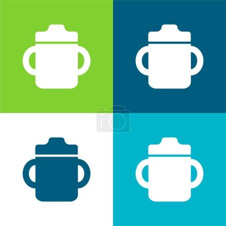 Photo pour Bouteille de boisson pour bébé avec poignée des deux côtés Ensemble d'icône minimal plat de quatre couleurs - image libre de droit
