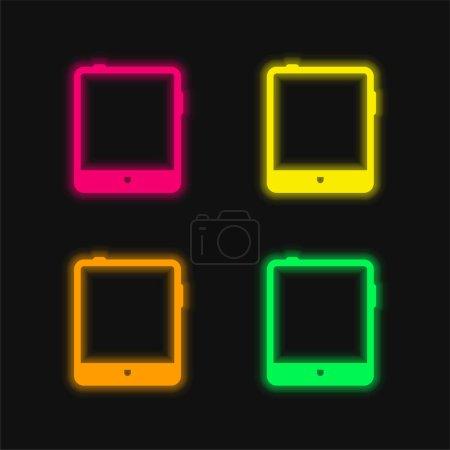 Big Tablet four color glowing neon vector icon