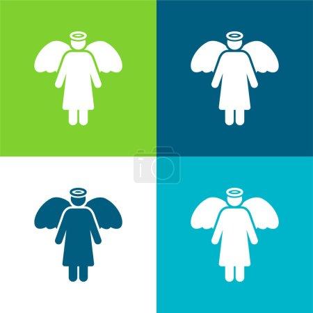 Photo pour Angel Flat ensemble d'icônes minimes quatre couleurs - image libre de droit