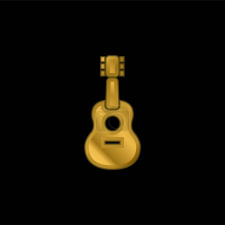 Acoustic Guitar gold plated metalic icon or logo vector
