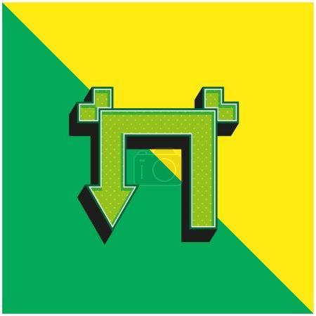 Illustration pour Flèche avec deux angles droits Vert et jaune moderne icône vectorielle 3d logo - image libre de droit