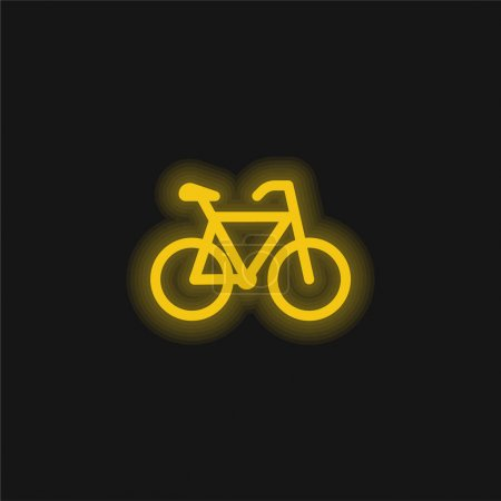 Bicycle yellow glowing neon icon