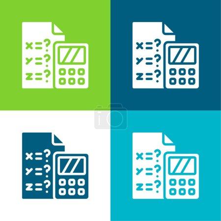 Algebra Flat four color minimal icon set