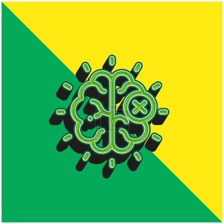 Photo pour Cerveau Vert et jaune moderne icône vectorielle 3d logo - image libre de droit