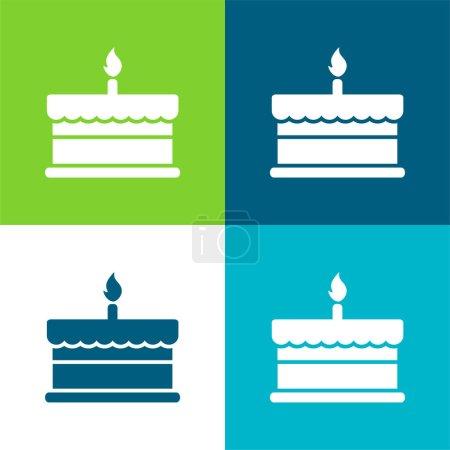 Illustration pour Gâteau d'anniversaire avec une bougie brûlante Ensemble d'icône minimal plat de quatre couleurs - image libre de droit