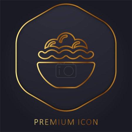 Illustration pour Bol plein de nourriture ligne d'or logo premium ou icône - image libre de droit