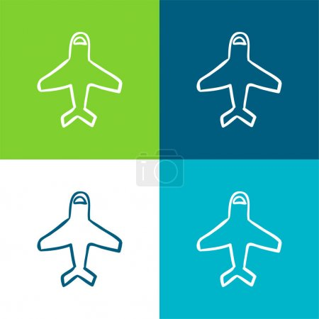 Airplane Outline Pointing Up Flat four color minimal icon set