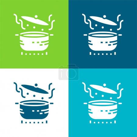 Photo pour Ensemble d'icônes minimal quatre couleurs à ébullition - image libre de droit