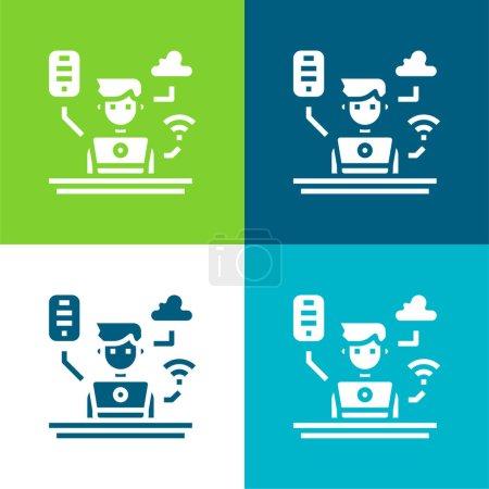 Illustration pour Administrateur Ensemble d'icônes minimal plat quatre couleurs - image libre de droit