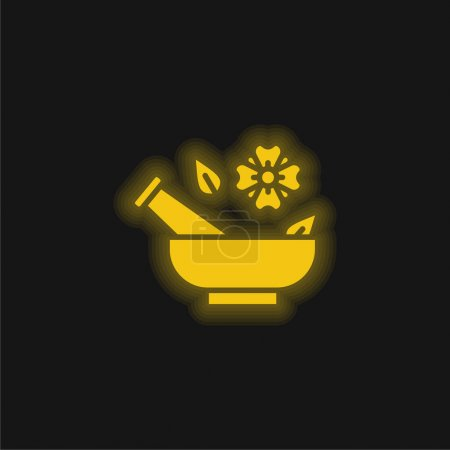 Illustration for Aromatherapy yellow glowing neon icon - Royalty Free Image