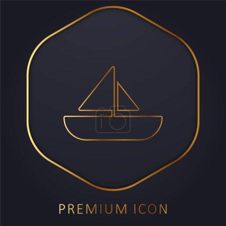 Boat golden line premium logo or icon