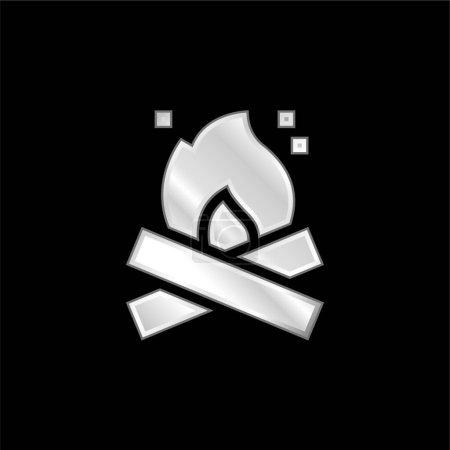 Illustration pour Icône métallique argentée Bonfire - image libre de droit