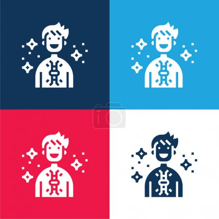 Illustration for Antibodies blue and red four color minimal icon set - Royalty Free Image