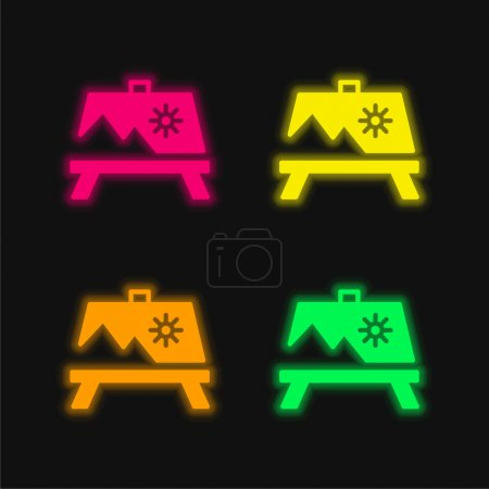 Illustration for Artwork Painting On A Stand four color glowing neon vector icon - Royalty Free Image