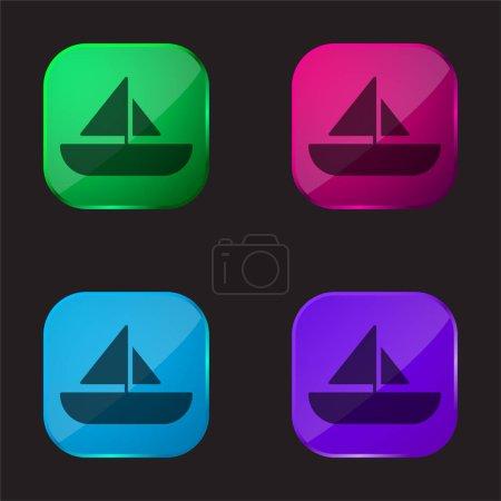 Boat four color glass button icon